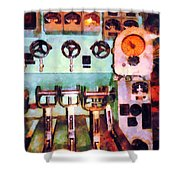 Steampunk - Electrical Control Room Shower Curtain