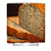 Steamy Fresh Banana Bread Shower Curtain by Susan Herber
