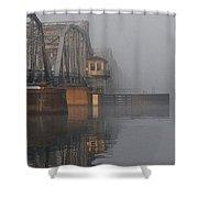 Steel Bridge In Fog - Vertical Shower Curtain