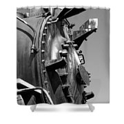 Steme Engine Front Black And White Shower Curtain
