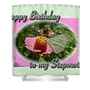 Stepmother Birthday Greeting Card - Butterfly On Flower Shower Curtain