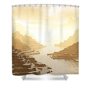 Misted Mountain River Passage Shower Curtain