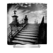 Steps At Chateau Vieux Shower Curtain by Simon Marsden