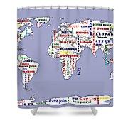 Steve Jobs Apple World Map Digital Art Shower Curtain