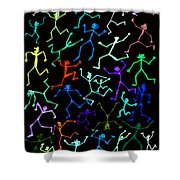 Stickmen Characters Aglow With Color Shower Curtain