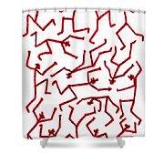 Stickmen Characters Nine Eleven Two K Ten Shower Curtain