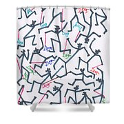 Stickmen Characters With Dogs Two Shower Curtain