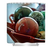 Still Life Crosses Reflected In Bowl Of Glass Marbles Art Prints Shower Curtain
