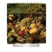 Still Life Of Fruits And Vegetables Shower Curtain