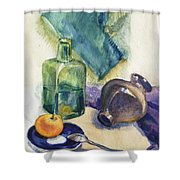 Still Life With Green Bottle Shower Curtain