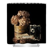 Still Life With Hydrangea And Camera Shower Curtain