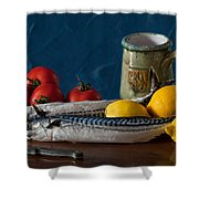 Still Life With Mackerels Lemons And Tomatoes Shower Curtain