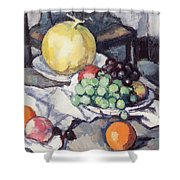 Still Life With Melons And Grapes Shower Curtain by Samuel John Peploe