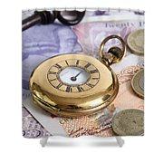 Still Life With Pocket Watch, Key Shower Curtain by Photo Researchers