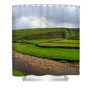 Stone Barn In A Fold Of The Landscape Shower Curtain