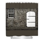 Stone Barn Window Cathedral Door Shower Curtain