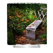 Stone Bench Shower Curtain by Carlos Caetano