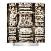 Stone Carvings In An Indain Temple Shower Curtain