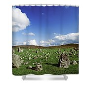 Stone Circles On A Landscape, Beaghmore Shower Curtain