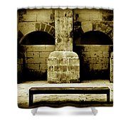Stone Face - Limestone Windows Column And Bank Create A Misterious Face Shower Curtain