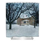 Stone Farmhouse In Winter Shower Curtain
