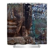 Stone Heads At Bayon Temple Shower Curtain