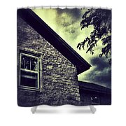 Stone House In Storm Shower Curtain