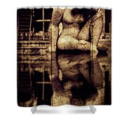 stone in reflexion - Statue reflected in a sea of doubt in vintage process Shower Curtain