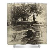 Stone Lantern And Temple Bell Shower Curtain