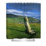 Stone On A Landscape, Ogham Stone Shower Curtain