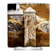 Stone Sight - Two Arches And A Column Draws A Disturbing Almost Human Face Shower Curtain