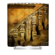 Stone Stairs And Balustrade. Shower Curtain