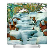 Stone Steps In Winter Shower Curtain