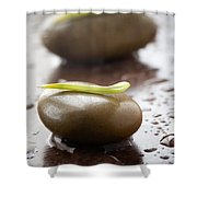 Stones With Water Drops Shower Curtain