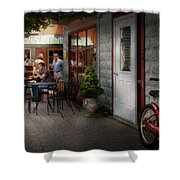 Storefront - Frenchtown Nj - At A Quaint Bistro  Shower Curtain by Mike Savad