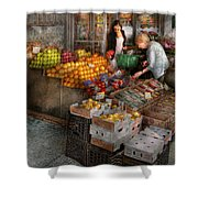 Storefront - Hoboken Nj - Picking Out Fresh Fruit Shower Curtain by Mike Savad