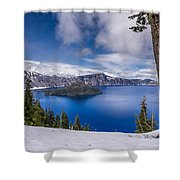 Storm Clearing At Crater Lake Shower Curtain