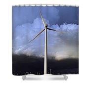 Storm Clouds And Wind Turbine Shower Curtain