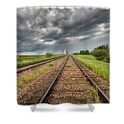 Storm Clouds Over Grain Elevator Shower Curtain