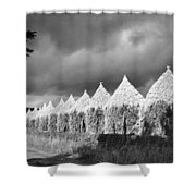 Storm Light On Grain Stacks Not Far Shower Curtain