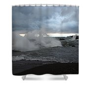 Storm On Black Beach Shower Curtain