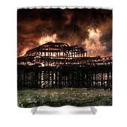 Storm Over The West Pier Shower Curtain