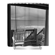 Storm-rocked Beach Chairs Shower Curtain