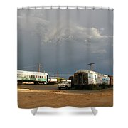 Storm Sky Over The Old Railyard Shower Curtain