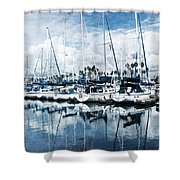 Stormy Blues Shower Curtain