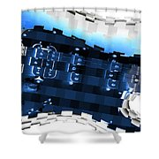 Abstract Guitar In Blue Shower Curtain