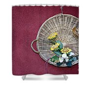 Straw Basket With Flowers Shower Curtain