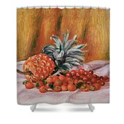 Strawberries And Pineapple Shower Curtain