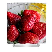 Strawberries And Yellow Mum Shower Curtain by Barbara Griffin