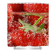 Strawberries In Water Close Up Shower Curtain